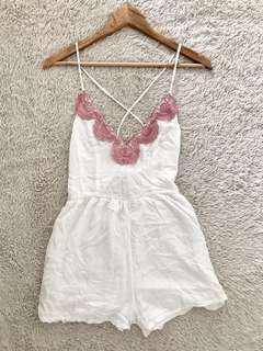White Romper with pink lace