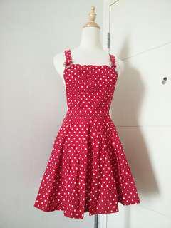 Polka dot red white suspender skirt