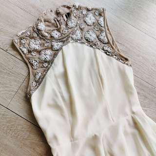 Topshop boutique cream skater dress with embellished collar and lace back insert 米色珠珠刺繡蕾絲高領露背背心裙 連身裙 旗袍