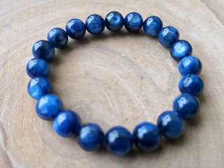 純天然水晶-夢幻藍晶石手串手鏈-強貓眼-9.5mm