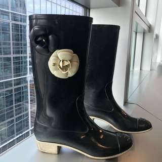 Authentic Chanel rain boots