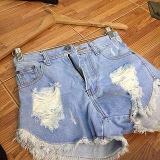 Lightblue Ripped Highwaist Shorts