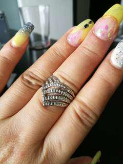 Silver Ring triangle tribal statement big crown used