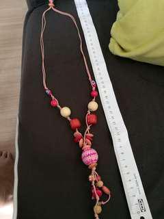 Tribal wool necklace long pink mandala handmade natural cute ball cotton theme statement necklace adjustable pretty beautiful gift beach