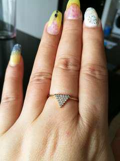 LOVISA Ring Gold tribal statement triangle thin middle finger diamond crystal shinning thin