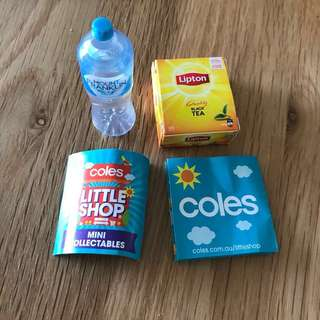 free with purchase over $30 Coles mini shop tea and water
