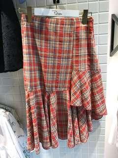 [KOREA]格紋棉麻中長裙☻