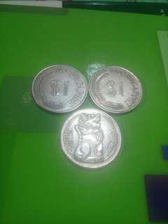 Old coin 1 dollar singapore, 1967,1968,1969