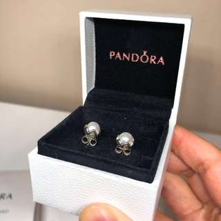 NEW Pandora White Pearl & Silver Stud Earrings
