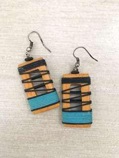 Wood accent earrings