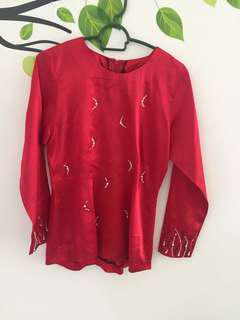 Red Top Blouse Kurung Moden