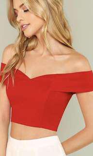 Red Off Shoulder Crop Top