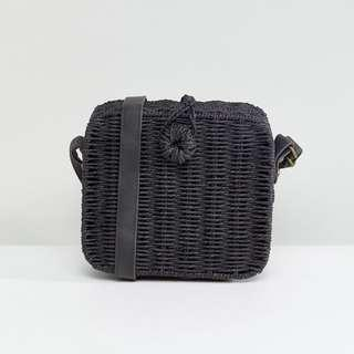 ASOS Design Straw Square Structured Basket Bag with Water-Based PU Strap