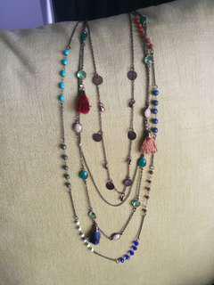 Long Necklace multi layer tribal statement tassel blue opal stone gold multi layered