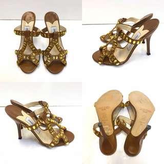 全新高踭拖鞋涼鞋 New Jimmy Choo brown leather crystal high sandals size 35