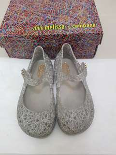 Mini Melissa Campana s8 15cm htf silver glitter shoes only pink white black size 8 minimel jelly authentic auth orig original