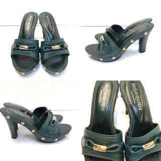 YSL yves saint laurent green leather high heel sandals size 35