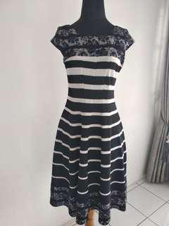 A Line Stripe Dress in Black White