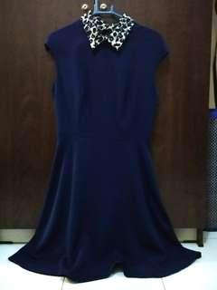 Executive navy coklat dress