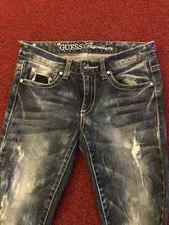 💯Authentic Guess Premium Skinny Stretch  Jeans Tattered Acid wash Original Guess