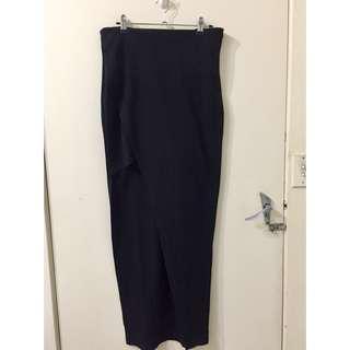 Lovebird Black Short Long Maxi Asymmetrical Skirt