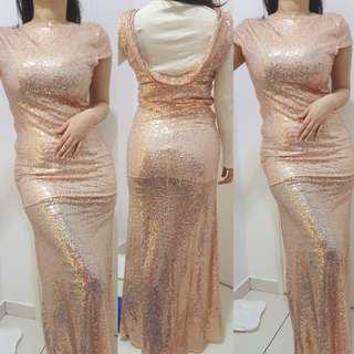 ROSE GOLD SEQUIN DINNER DRESS
