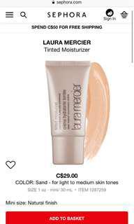 Mini Laura Mercier tinted moisturizer in sand