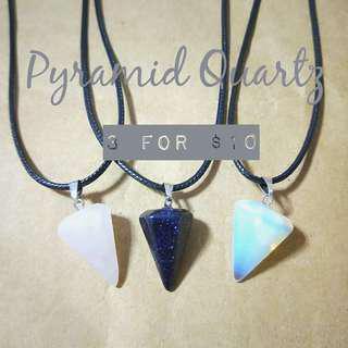 🚚 (3 FOR $10!) Quartz Pyramid Necklace