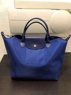 99%新 Longchamp 有長帶 M size 中碼 厚料 藍色