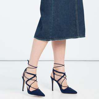 Zara Laced up navy blue heels