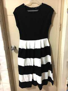 Black and White Striped Midi Dress BLUED Brand New with Tag