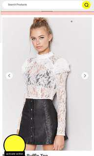 Forever21 sheer ruffle lace top