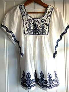 Embroidered gypsy festival top