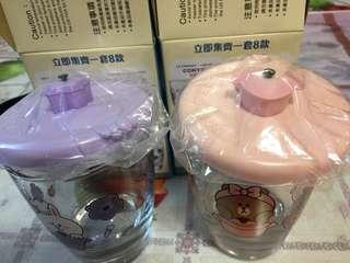 全新7 11 玻璃杯 粉紅色同紫色每個30元