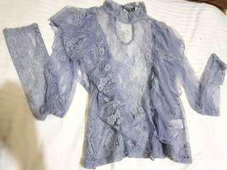 Forever21 lace top with blue cami