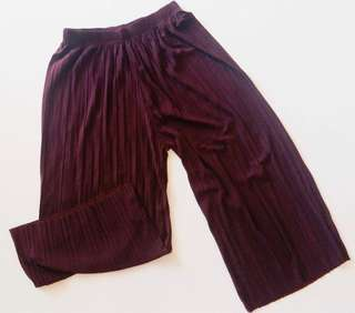 Maroon Pleated Palazzo / Culottes / Pants or Trousers #50under