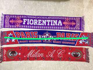 Football club scarfs - Fiorentina, PSG and AC Milan.