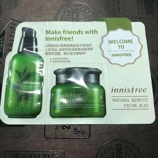 🚚 Innisfree 綠茶籽保濕精華/潤澤保濕霜 1ml 二重奏