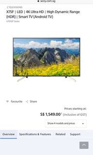 SONY X7500F 4K HDR SMART ANDROID TV (49 55 65inch avail)
