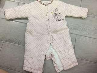 嬰兒厚身夾棉連身