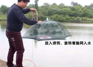Get 2 baits free bao bao Fish Net Cage Umbrellal shape shrimp fishing  Loach crab cage Fun Hobby