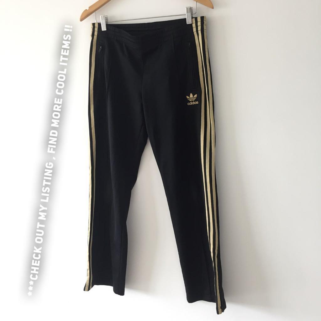 adidas pants gold stripes