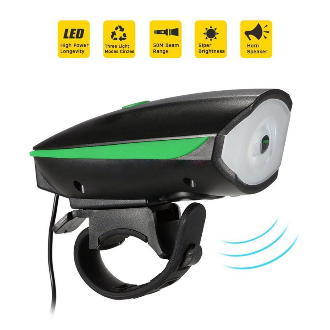 Bicycle e-Scooter LED Head Light Super Horn Electronic Bell Lamp Water Resistant @ Yishun