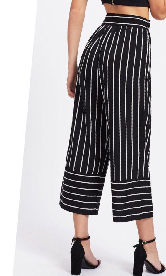 Celana Garis Panjang Striped Pants Wide Cullote Stripe Pants Celana