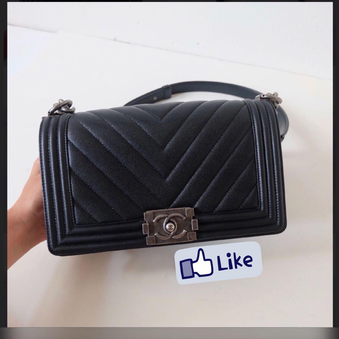 Chanel Boy medium chevron cavies skin, Luxury, Bags   Wallets, Handbags on  Carousell d6ec8b1e06