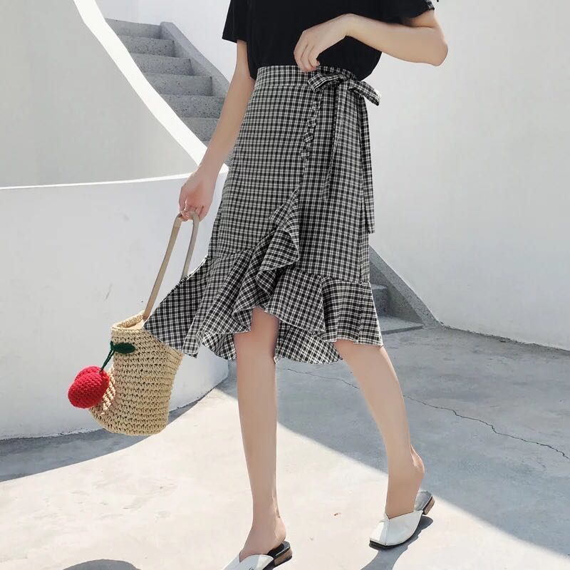 980e99d03 Checkered Long Skirt Wrap around ruffle hem lattice maxi skirt plaid split  korean irregular high waist skirt hws casual ulzzang kpop long mermaid  bodycon ...