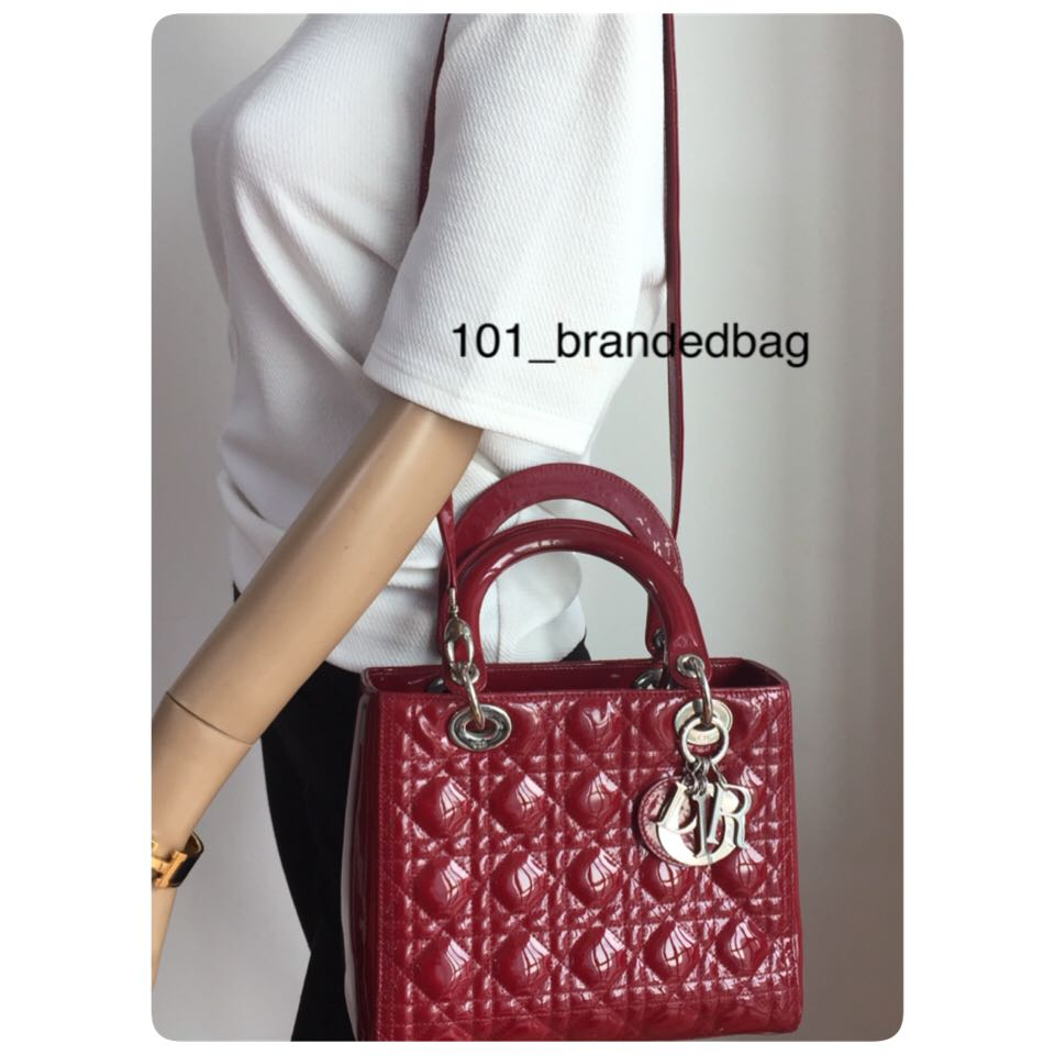 8864a292040 Christian Dior Patent Red Medium Lady Dior, Women s Fashion, Bags ...