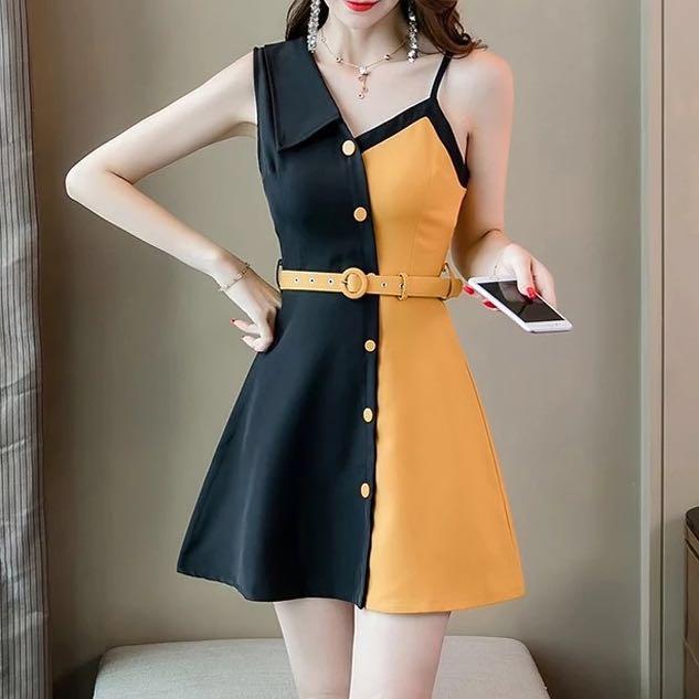 43c6e675d058 Contrast Dress Korean Office Casual Smart Simple Plain Monochrome Dress  Women woman ladies solid colour dress button, Women's Fashion, Clothes, ...