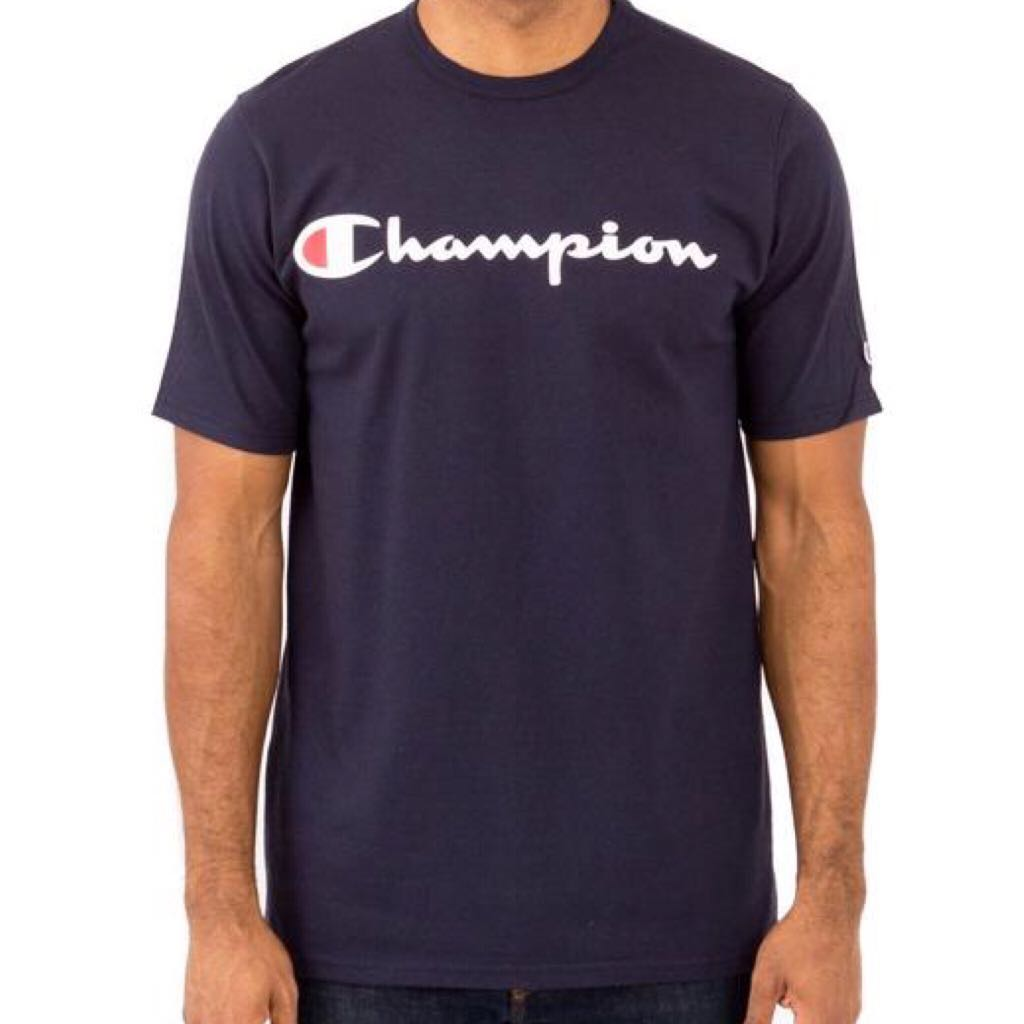 dc87d29d7551 Instock Champion Heritage Script Logo Tee Navy, Men's Fashion ...