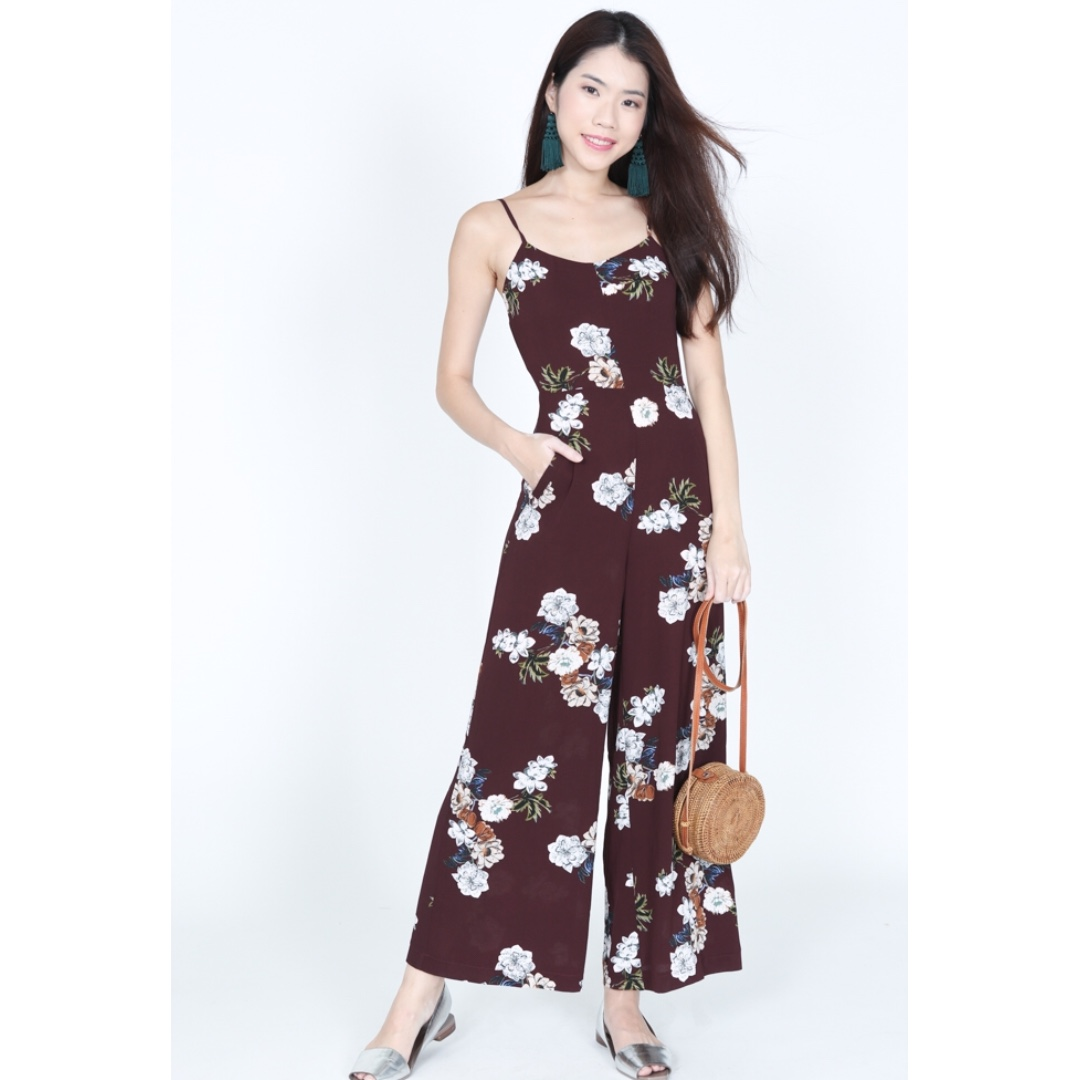 20edb48cd2f0 Mds Contemporary Cami Jumpsuit in Oxblood Floral Print